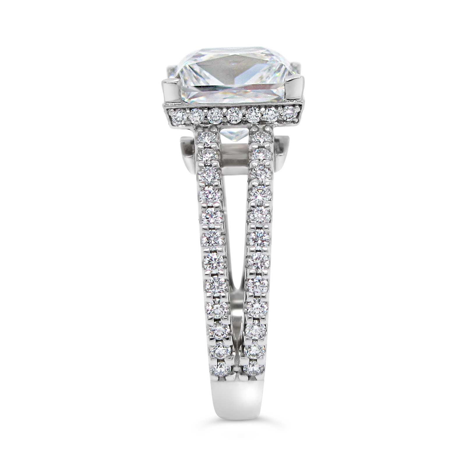 3ct Princess Cut with Diamond Accents