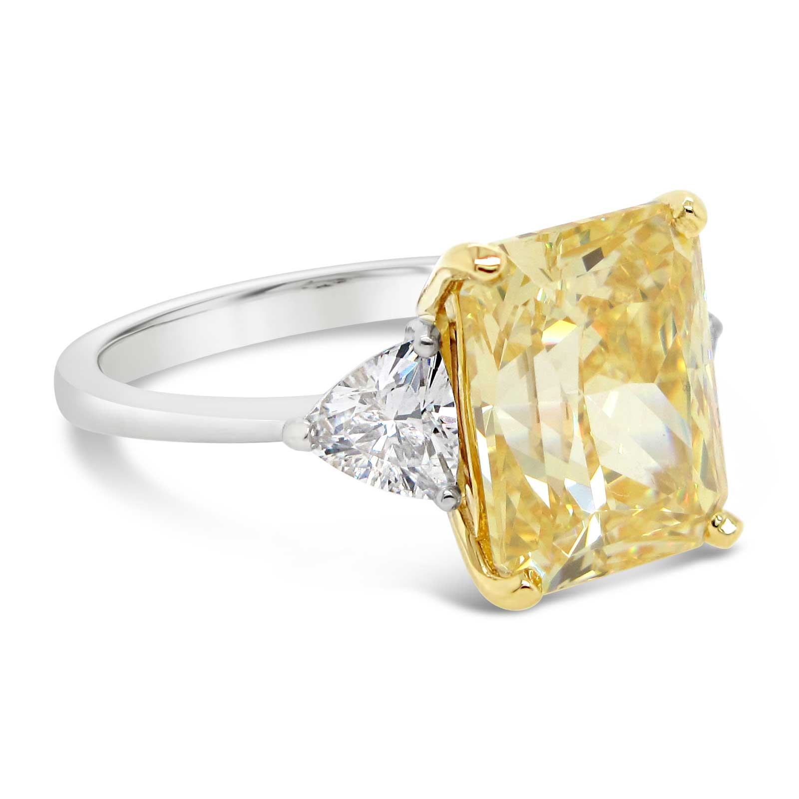 4ct Yellow Center with White Trillion Sides