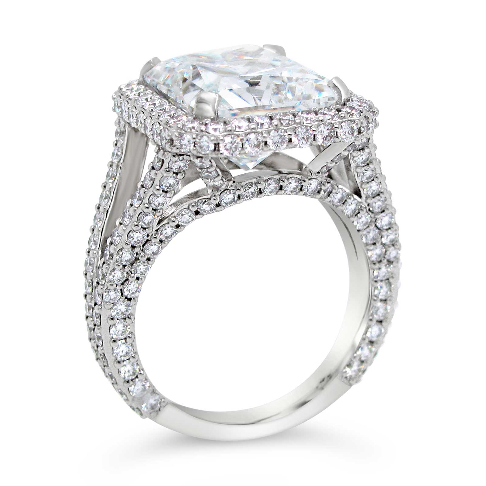 6ct Radiant Cut and Diamond Ring