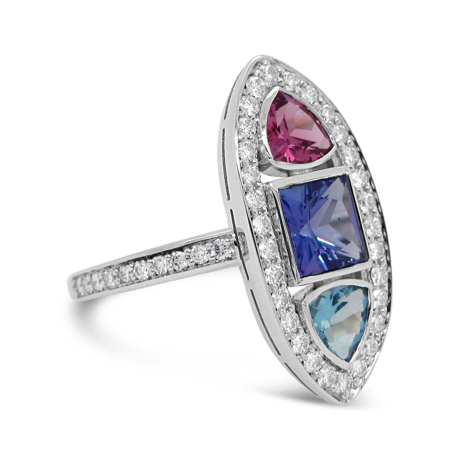 Tanzanite and Garnets with a Diamond Halo