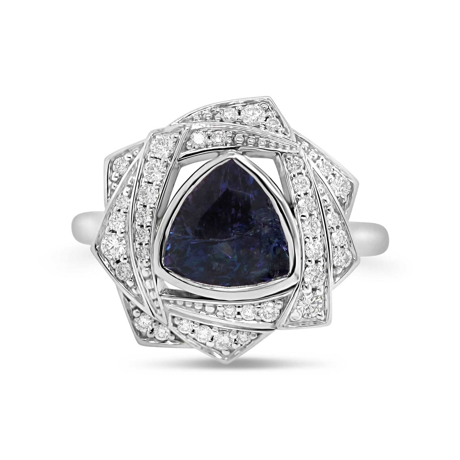 Trillion cut tanzanite with a fancy diamond halo set in 14k white gold