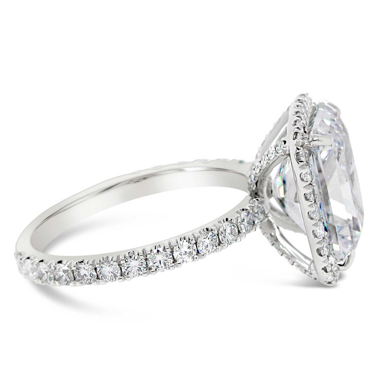 3.5ct radiant cut with diamond halo and shank
